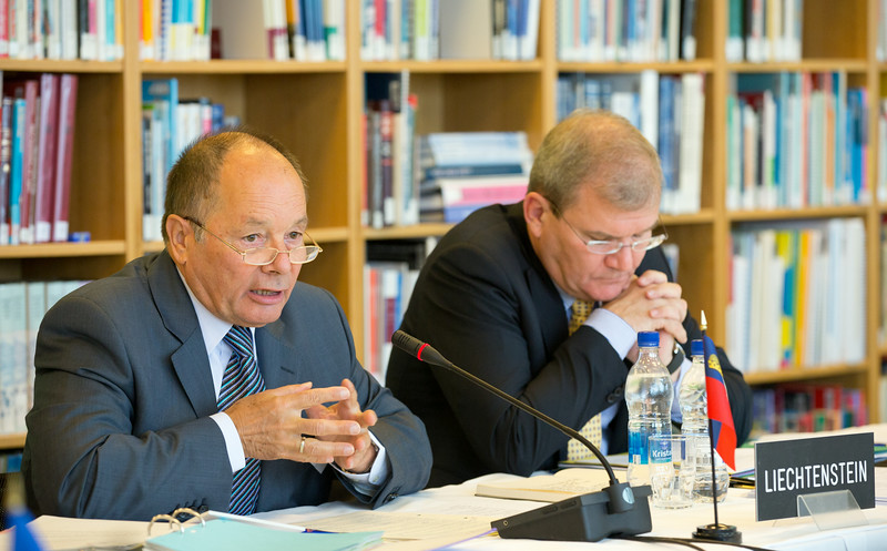 From left: Mr Norbert Frick, Ambassador, Permanent Mission of Liechtenstein to the International Organisations, Geneva; and Mr Kurt Jäger, Ambassador, Liechtenstein Mission to the EU