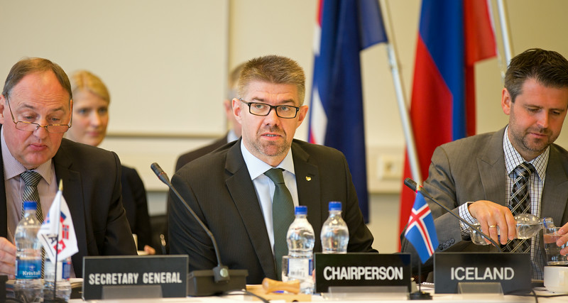 From left: Kristinn F. Árnason, Secretary-General, EFTA; Gunnar Bragi Sveinsson, Minister for Foreign Affairs and External Trade, Iceland (Chair) and Martin Eyjólfsson, Ambassador, Swiss Mission to EFTA and the World Trade Organisation