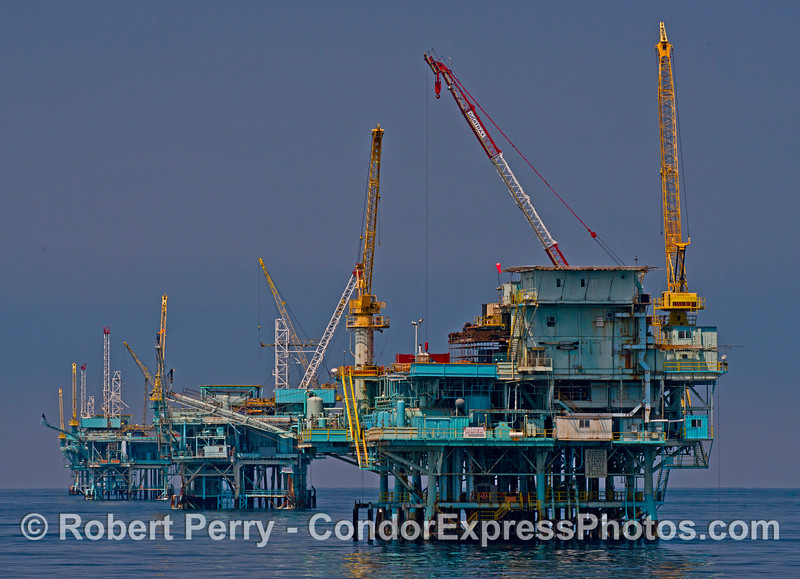 Oil platforms (from front to back) Hillhouse, A, B, and C