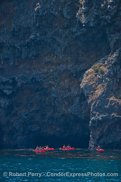 Sea cliffs and kayaks - Santa Cruz Island