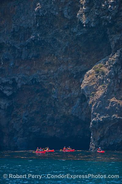 Sea cliffs and kayaks - Santa Cruz Island