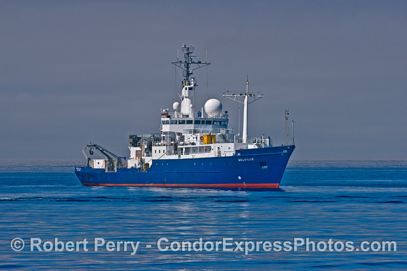 The Scripps Institute of Oceanography research vessel 'Melville' prepares to anchor off Santa Barbara Harbor