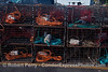California spiny lobster traps - orange, red and blue