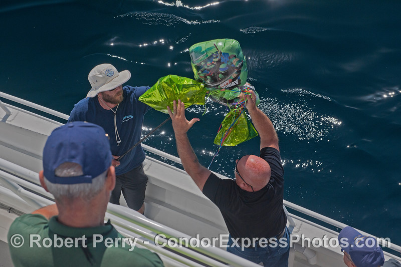 Deckhand Augie (with Gilligan hat) gets a hand from a passenger as they remove the mylar balloon trash from the ocean