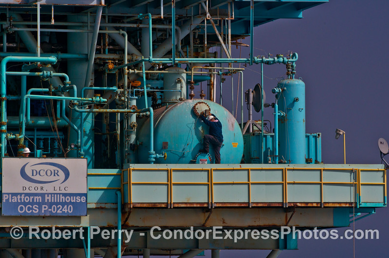 Man at work on offshore oil Platform Hillhouse
