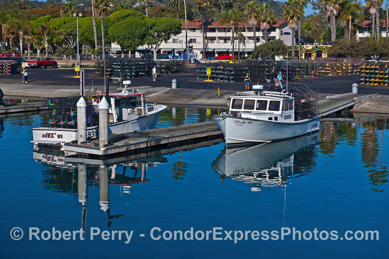 """Commercial lobster fishing boats """"Area 51"""" and """"Bella B"""" load their traps at the launch ramp in Santa Barbara Harbor.  Additional traps can be seen in the background."""
