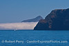 A sailboat, the tip of Summit Peak on West Anacapa, and the east end of Santa Cruz island - with fog bank