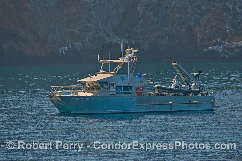 "California Fish & Wildlife game wardens on patrol in their vessel ""Swordfish"" from Ventura Harbor - seen at Santa Cruz Island"