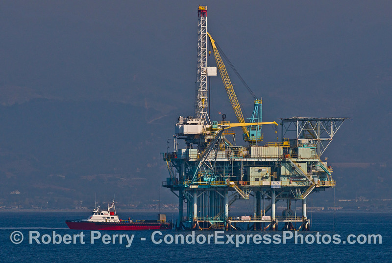 "The crew and support boat ""Alan T"" is seen loading cargo at offshore oil platform Henry in the Santa Barbara Channel"
