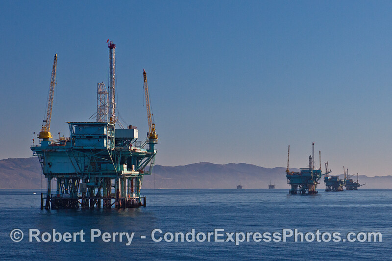 Offshore oil and gas platforms C, B A, and Hillhouse (from left to right)