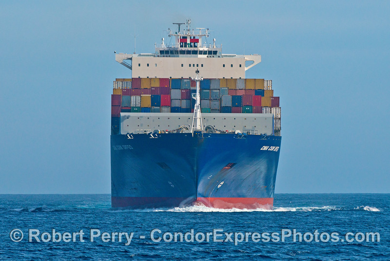 Head-on view of the container ship CFA CGM Orfeo in the northbound Santa Barbara Channel shipping lane