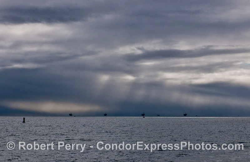 Rain squalls over the offshore oil platforms - Santa Barbara Channel