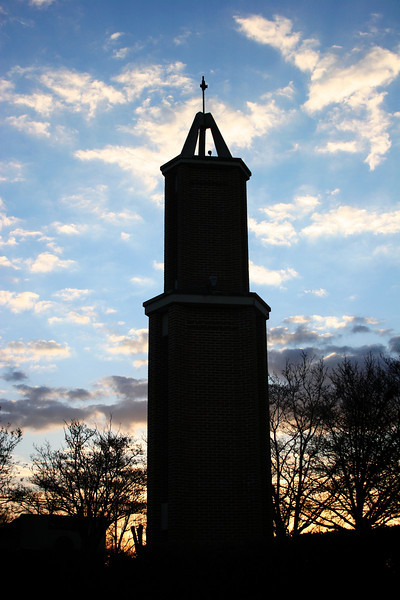 Tower of Light on a beautiful cool morning on the campus of Gardner-Webb University.
