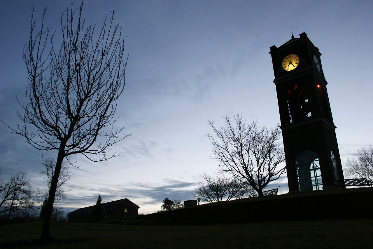 The campus bell tower at sunrise on the campus of Gardner-Webb University.