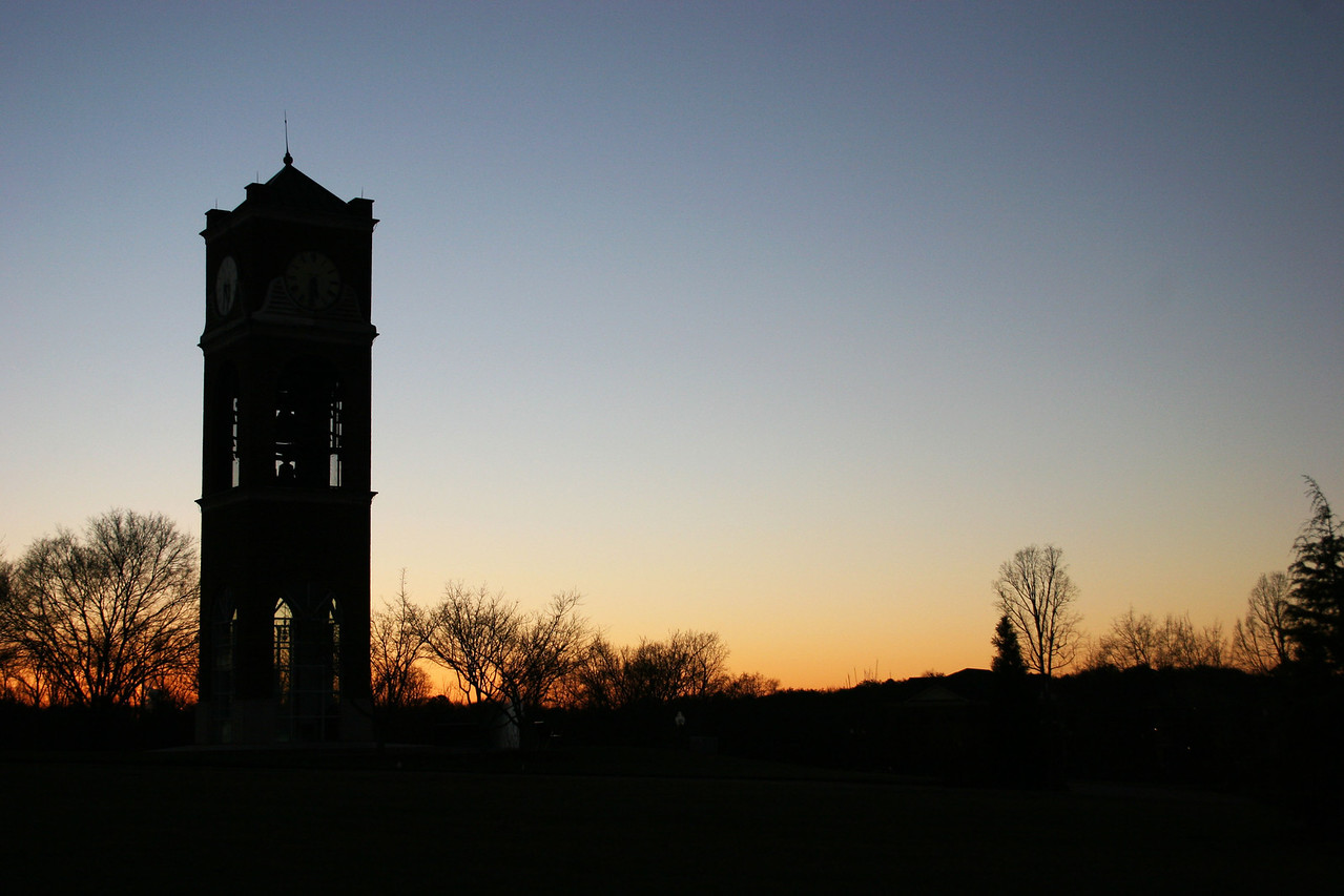 The Gardner-Webb University bell tower at sunset on a winter day.