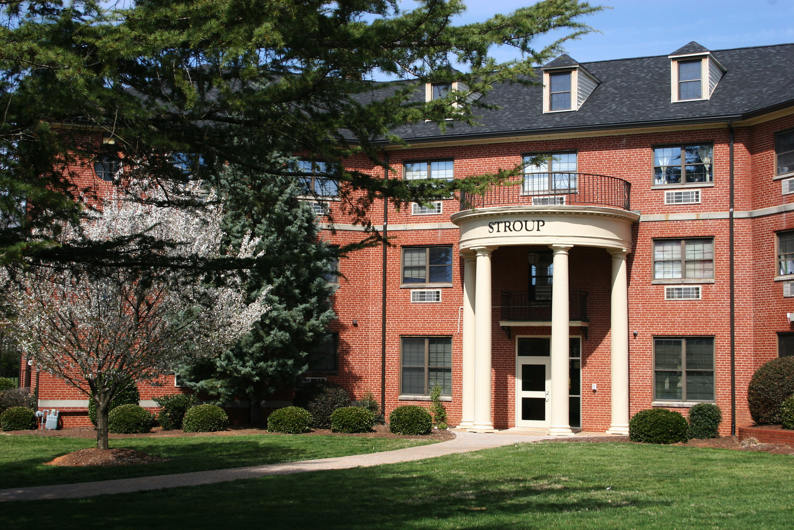 Stroup Hall on a nice spring morning on the campus of Gardner-Webb University.