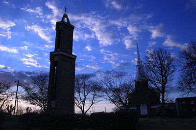 Dover Memorial Chapel and the Tower of Light on a beautiful cool morning on the campus of Gardner-Webb University.
