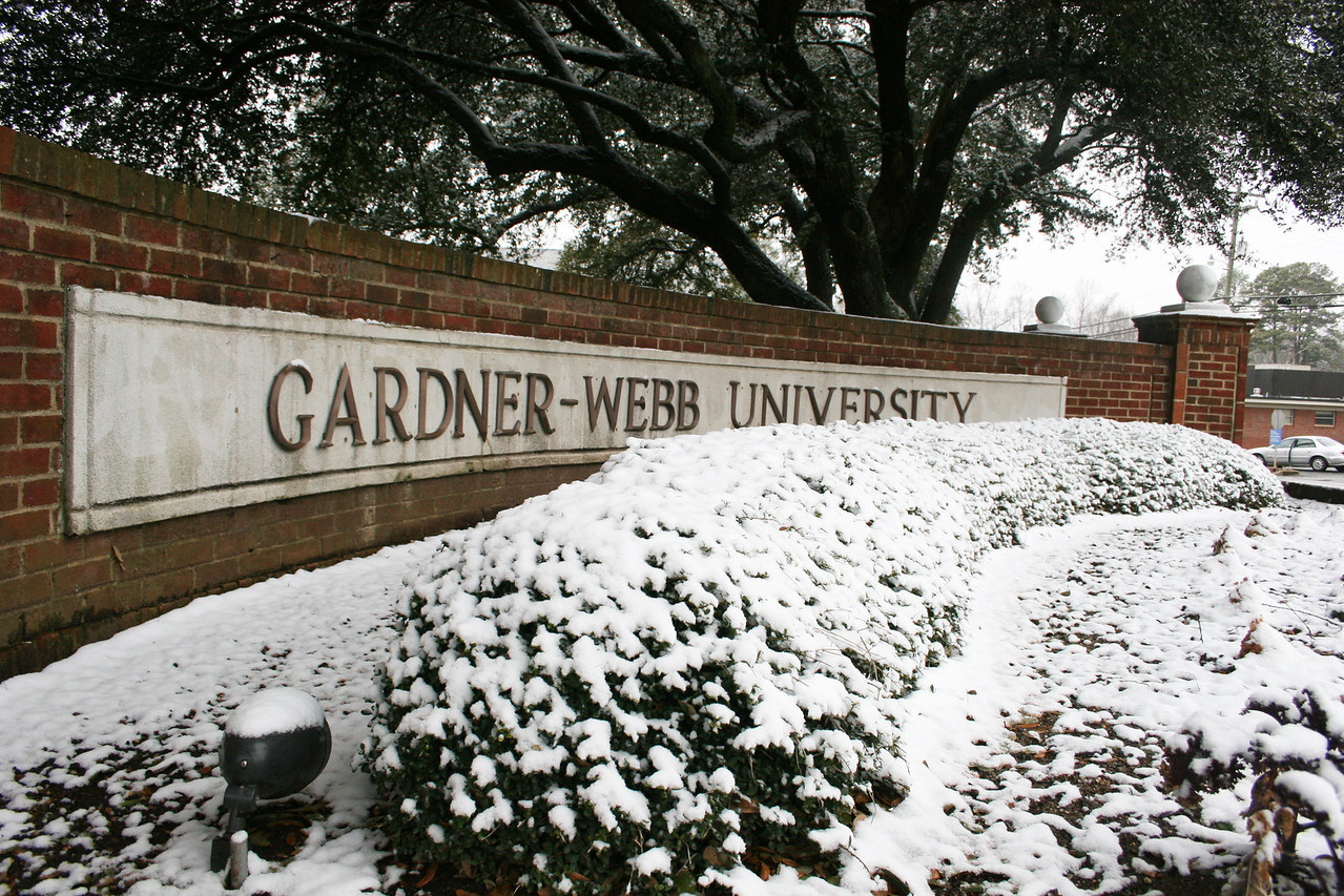 Snow coving the front of Spangler Gate on the campus of Gardner-Webb University.