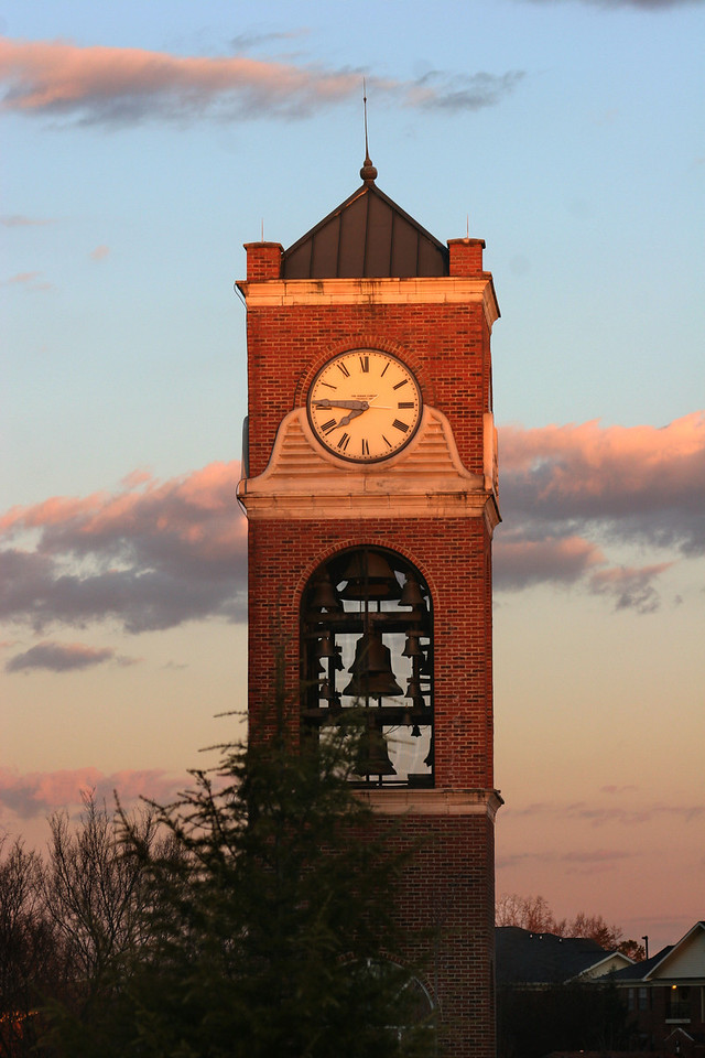 The Hollifield Carillon (bell tower) on a cool January morning on the campus of Gardner-Webb University.