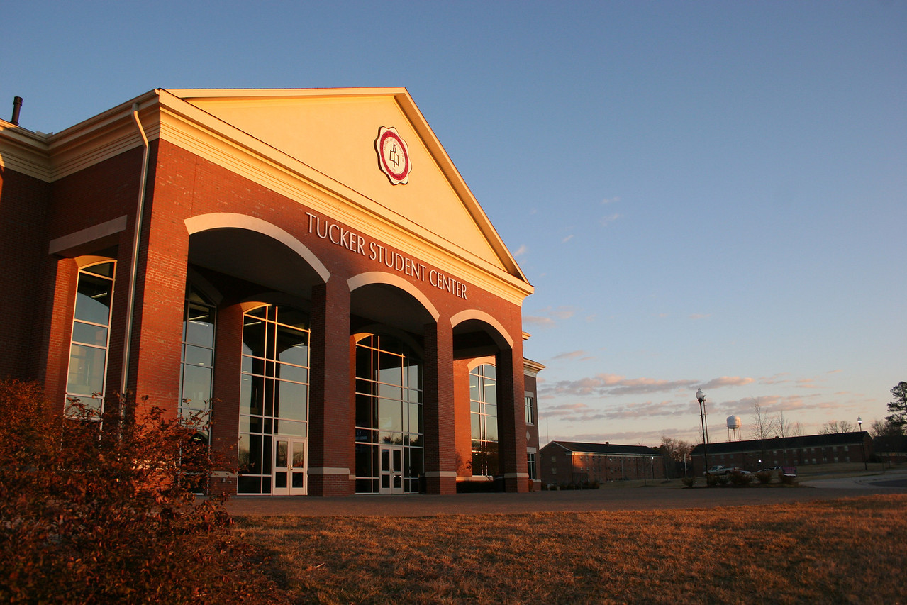 Tucker Student Center on a cool January morning on the campus of Gardner-Webb University.