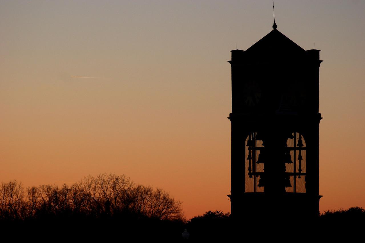 The Gardner-Webb bell tower on a winter sunset.