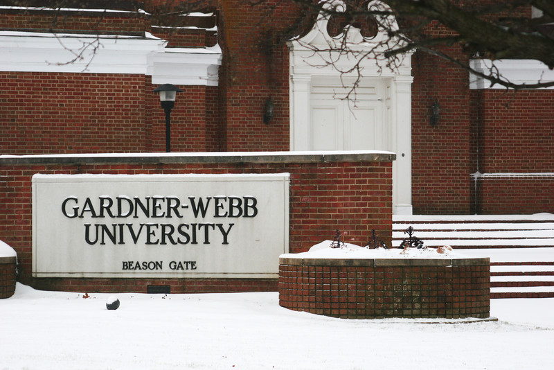 Beason Gate covered in snow at Gardner-Webb University.