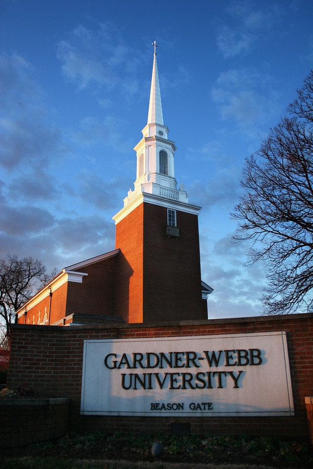 Dover Memorial Chapel on a beautiful cool morning on the campus of Gardner-Webb University.