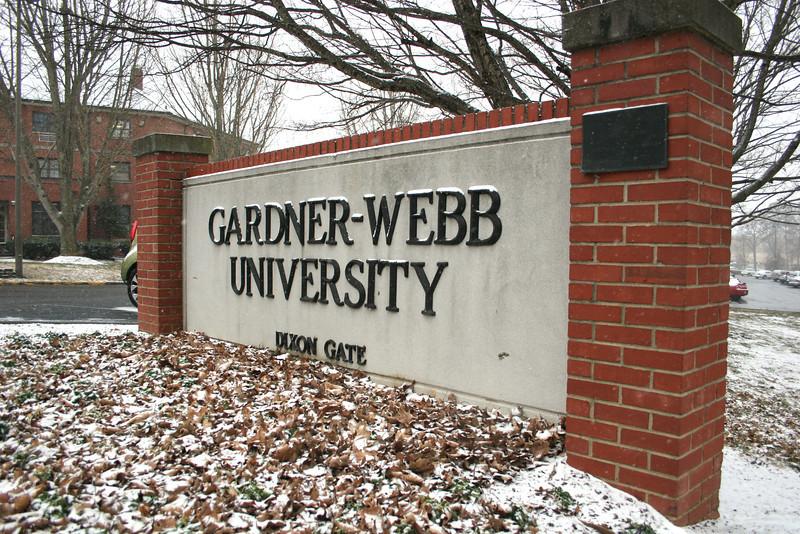 Snow on the Dixon Gate at Gardner-Webb University.