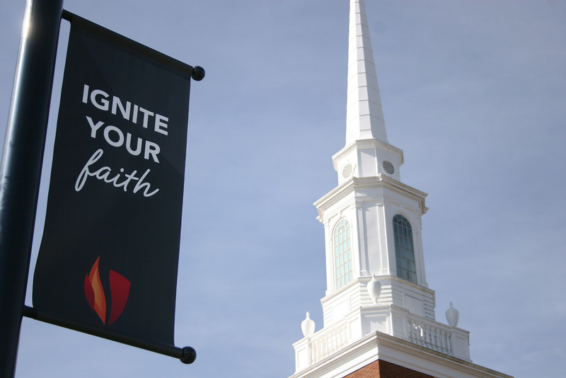 New Gardner-Webb University banners around the campus.