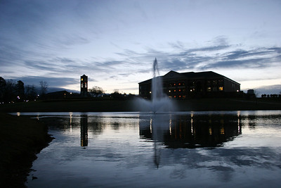 Lake Hollifield at sunrise on the campus of Gardner-Webb University.