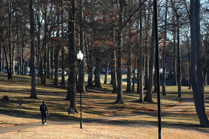 A Gardner-Webb University student walks along the campus on a winter day.
