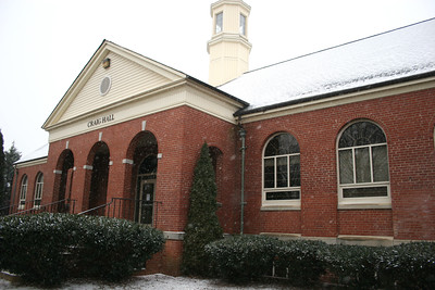 Snow falling on the Craig Hall building on the campus of Gardner-Webb University.