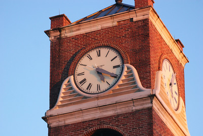 The Gardner-Webb University bell tower in the morning sun on a winter day.