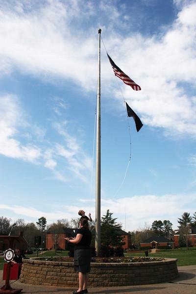 Flag raising ceremony for the new brand at Gardner-Webb University.