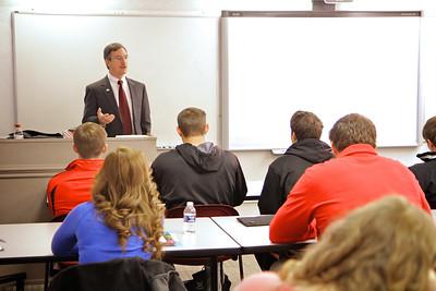 Earl Godfrey instructing an accounting class. Spring 2014