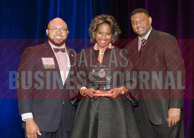 Alumni Matt Houston, honoree Michelle Thomas and sponsor Kevin Davis from TCU's Neeley School of Business.