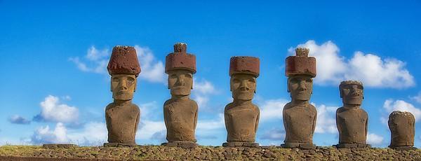 Ahu Nau Nau Moai  at Anakena Beach