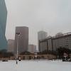 snowing in Dallas across from the aquarium