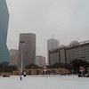 snowing in Dallas across from the aquarium