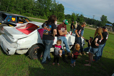 Fans gathering around #6C Dwight Crawford's car