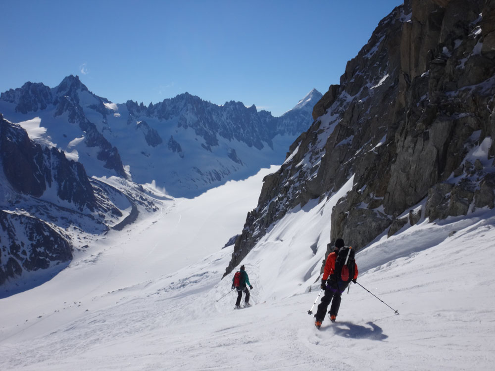But of course we chose the hard route (someday if I live long enough I really need to grow a brain…) We started by following these skiers down to the Argentiere Glacier. They were starting the 5-6 day 'high route' across the mountains and glaciers to Zermatt.
