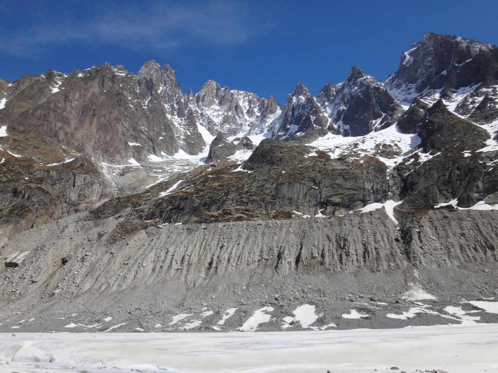 The ice used to be about 100 m higher at the top of the moraine there. The glacier is lowering by about 10 m/year due to global warming and may disappear entirely within a decade or two :(:(
