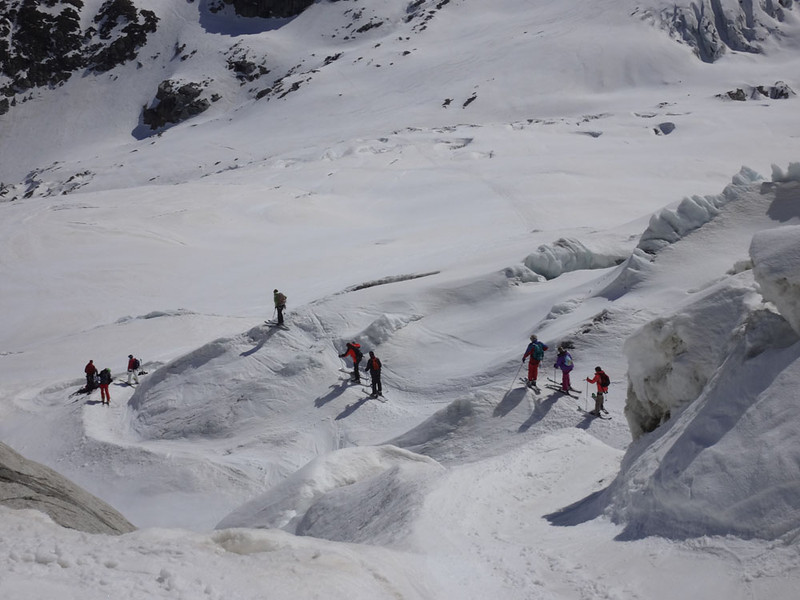 Skiers dodging the crevasses. The group to the left are blocking the main path. I think they'd just rescued one of their number who had fallen down a crevasse,