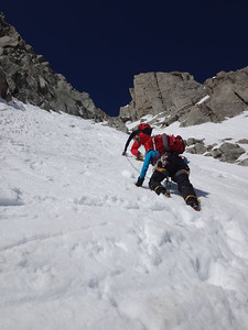 And by using the footsteps left by Julien and the climbers above. The woman is being guided by one of the world's leading alpinists, who recently opened a difficult new route in the himalayas. You can meet some amazing people in Chamonix (if you can stay alive long enough).