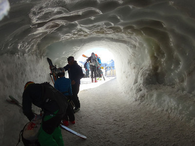 Finally it was time to start our descent. The trail starts in this ice cave.