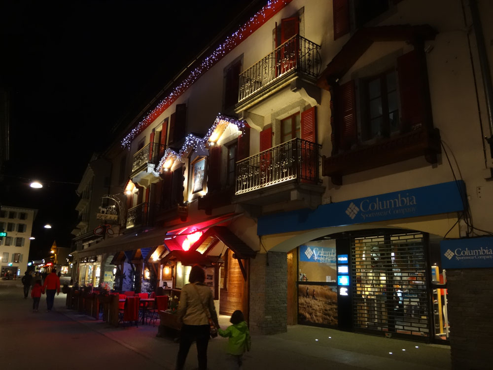 And of course after all our hard efforts the pretty lights of beautiful Chamonix by night awaited us