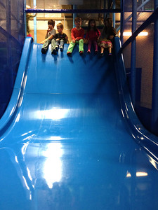 So cute how all of Amelia's friends waited for Amelia to come up to the slide so they could all go together.
