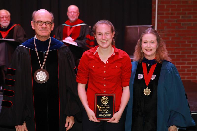 59th Academic Awards Day; Spring 2014. J.O. Terrell History Award: Kate Frances Oliphant