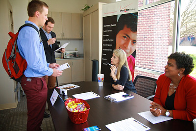 GWU School of Business hosts a student career fair, offering information and assistance on after-graduation opportunities for interested students.