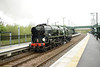 23 April 2014 :: BR Rebuilt Light Pacific 4-6-2 no 34046 Braunton is running light (0Z44) through Stratford-upon-Avon Parkway as a turning move via Dorridge and Hatton after working The Cathedrals Express from Andover to Stratford-upon-Avon (1Z43)